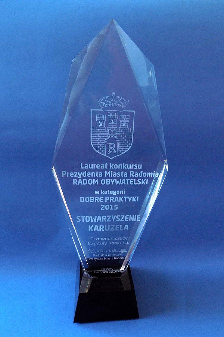2015 Laureat Konkursu Prezydenta Miasta Radomia RADOM OBYWATELSKI DOBRE PRAKTYKI