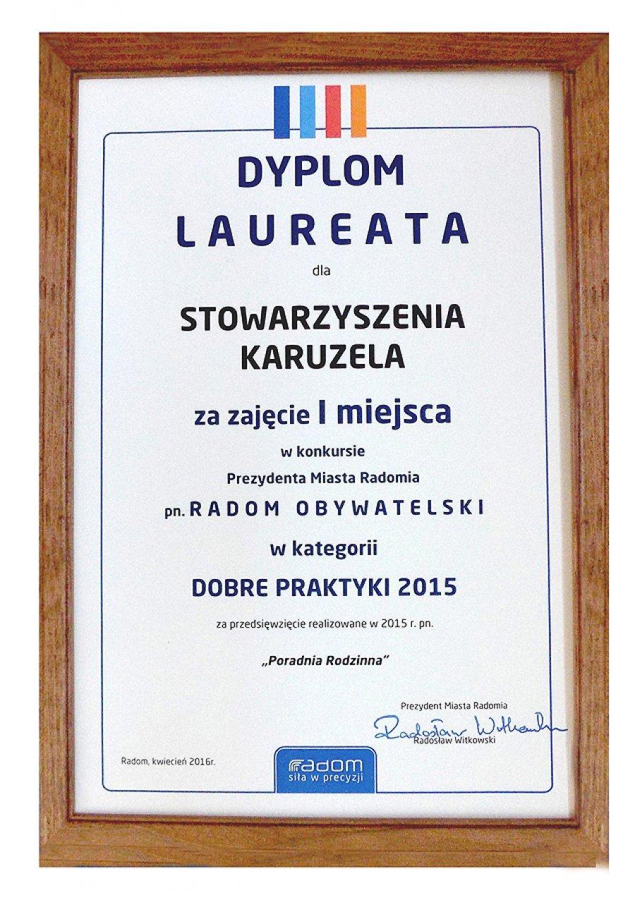 2015 I miejsce w konkursie Prezydenta Miasta Radomia za przedsięwzięcie Poradnia Rodzinna