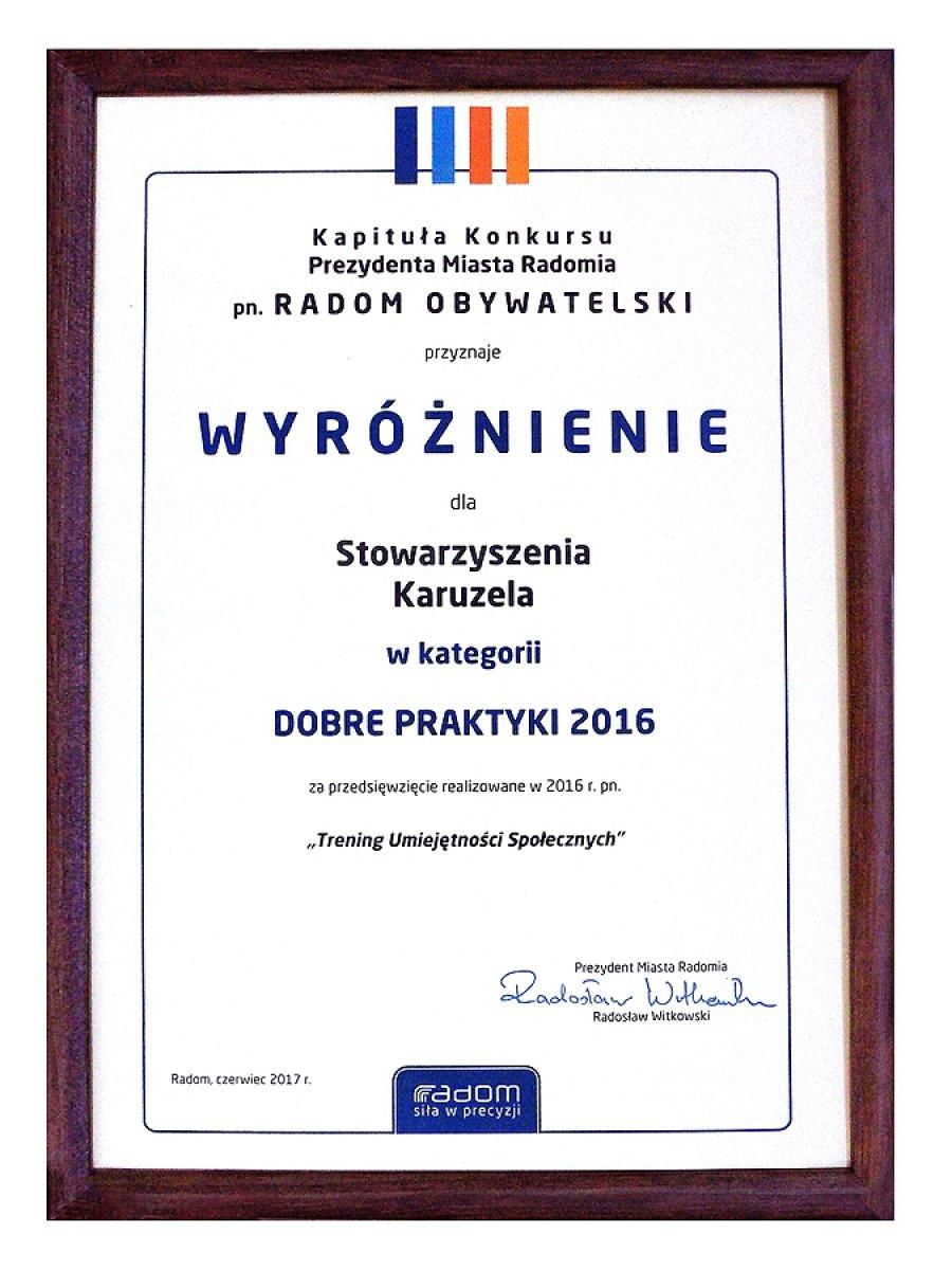 Wyróżnienie w kategorii DOBRE PRAKTYKI 2016