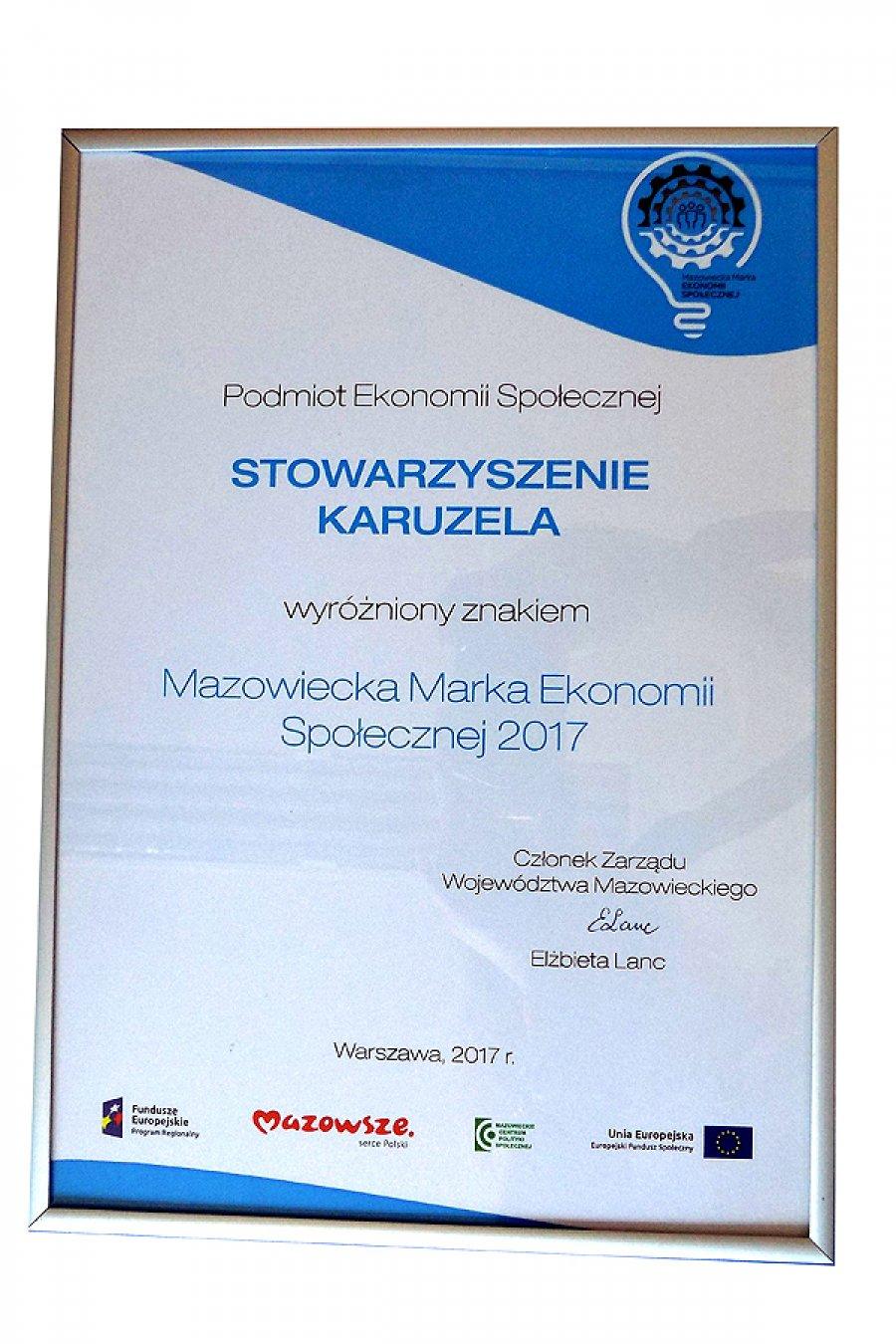 Wyróżnienie Znakiem – Mazowiecka Marka Ekonomii Społecznej 2017